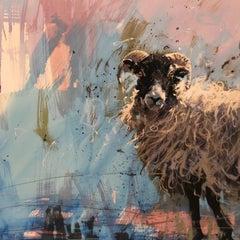 James Bartholomew, Ewe on Blue, Limited Edition Print, Animal Art, Art Online