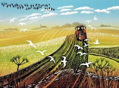 Rob Barnes, Ploughing the Furrows, Limited Edition Linocut Print, Landscape Art