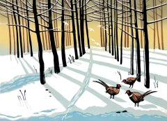 Rob Barnes, Woodland Pheasants, Winter Artwork, Landscape Art, Pheasant Art