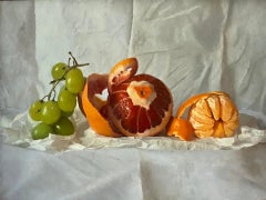 Kate Verrion, Grapes, Orange, and Satsuma, Original Still Life Painting