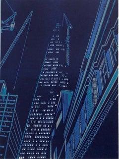 Jennifer Jokhoo, Nightfall Southwark, Limited Edition Linocut, London Art
