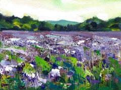 Rachel Painter, Purple Fields Study, Original Landscape Painting, Affordable Art