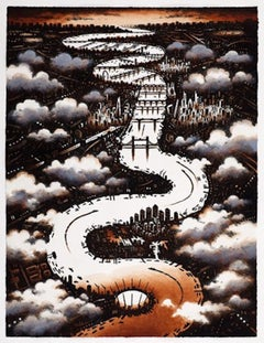 John Duffin, Thames Clouds, Limited Edition Print, Affordable Art, London Art