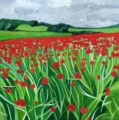Eleanor Woolley, Cotswold Poppies, Landscape Art, Affordable Art, Floral Art