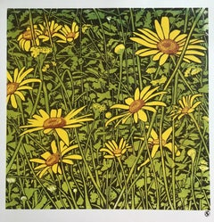 Susan Noble, Black-eyed Susans, Affordable Art, Floral Art, Linocut Print