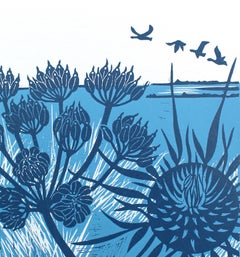 Kate Heiss, Geese over the Marsh - Vintage Blue Series,  Affordable Art