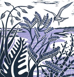 Kate Heiss, Sea Lavender & Samphire, Limited Edition Linocut Print, Art Online