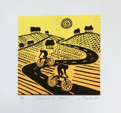 Joanna Padfield, Wheelers in Yellow, Cycling Art, Bicycle Art, Affordable Art