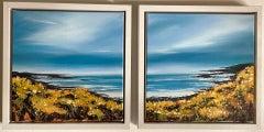 Adele Riley, Cornish Gorse Headland, Original Seascape Diptych Painting