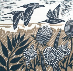 Kate Heiss, Curlews Over The Coast, Limited Edition Linocut Print, Animal Art
