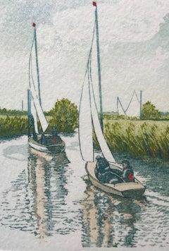 Jan Dingle, Still Drift, Affordable Art, Sailing Art, Landscape Art, Art Online