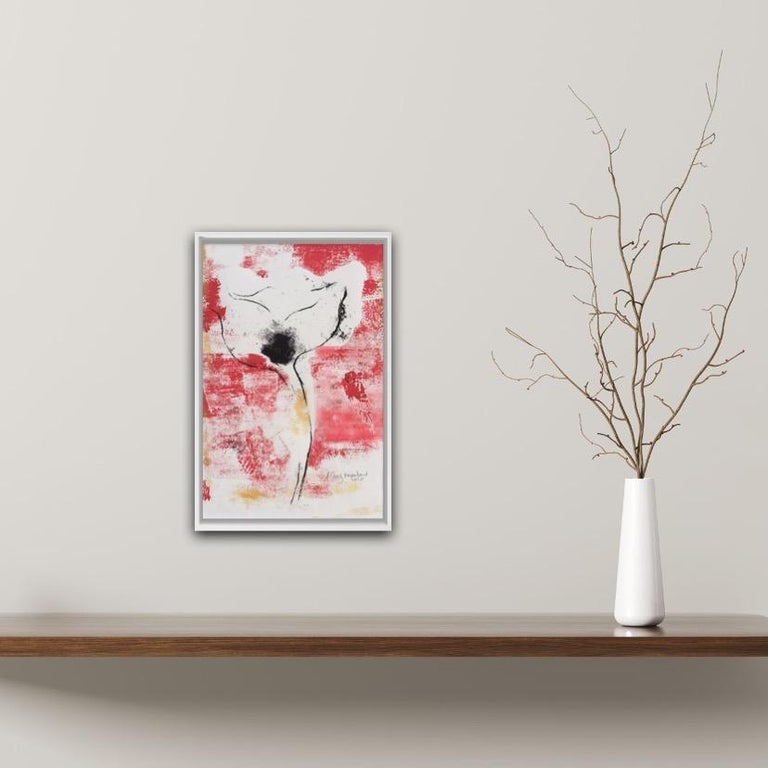 Mary Knowland Poppy 20 Original Monoprint on Paper Mount Size H 44cm x W 34.5cm Image Size H 28cm x W 18.5cm Sold Unframed (Please note that in situ images are purely an indication of how a piece may look).  A symbolic flower, the Poppy expresses