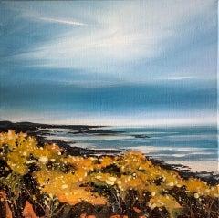 Adele Riley, Cornish Gorse Headland 1, Original Seascape Painting, Art Online