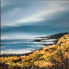 Adele Riley, Cornish Gorse Headland 2, CornwallvSeascape Art, Affordable Art,