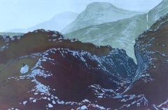 Laura Boswell, Gap in the Hill, Limited Edition Linocut, Affordable Art