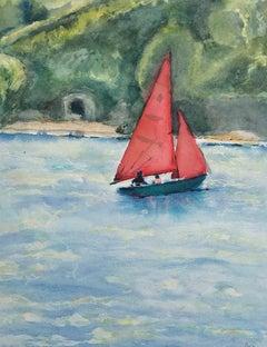 Peri Taylor, Red Sails, Seascape Art, Sailing Art, Affordable Art, Art Online