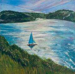 Peri Taylor, Turquoise Sails, Original Seascape Painting, Affordable Art