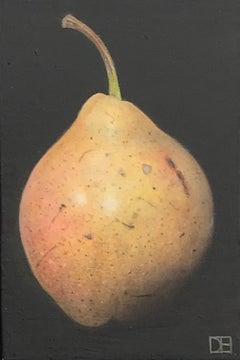 Dani Humberstone, Yellow Pink Pear, Original Realistic Painting, Affordable Art