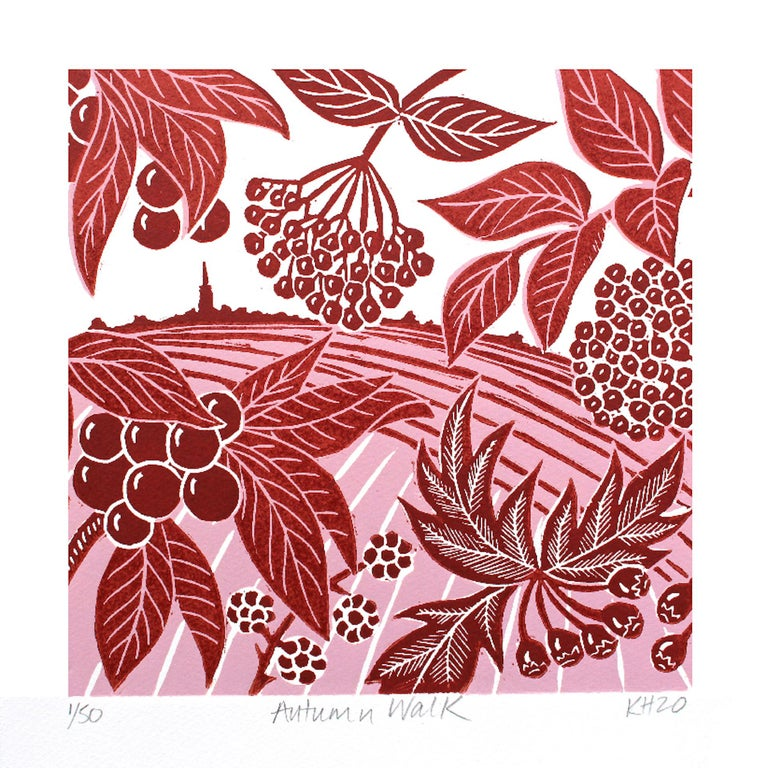 Kate Heiss Autumn Walk Linocut Edition of 50 Printed with oil based relief inks on 300gsm soft white Somerset velvet paper. Mounted Unframed Signed and dated on the front Image size 20 x 20cm Mounted size 30 x 30cm  This print was inspired by all