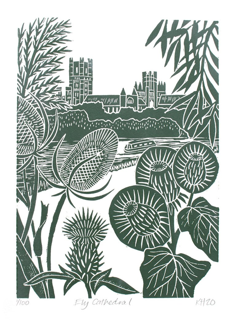 Kate Heiss, Ely Cathedral, Limited Edition Print, Affordable Art, Art Online - Gray Landscape Print by Kate Heiss