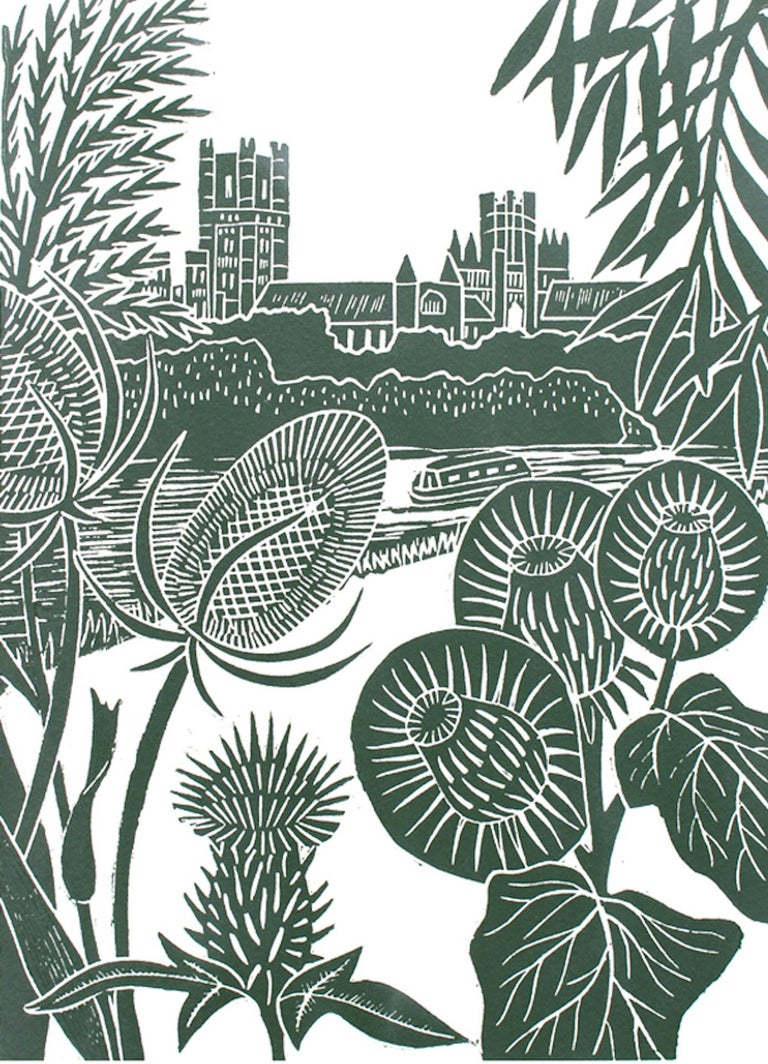 Kate Heiss Ely Cathedral Linocut Edition of 100 Printed with oil based relief inks on 300gsm soft white Somerset velvet paper. Mounted Sold Unframed Signed and dated on the front Image size: 22 x 30cm Mounted size: 30 x 40cm  Ely Cathedral looking