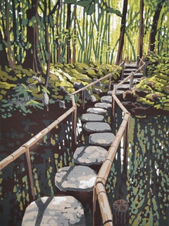 Alexandra Buckle, Stepping Stones, Japanese Landscape Print, Affordable Art