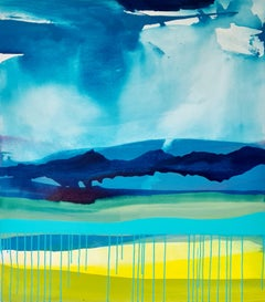 Claire Chandler, Blue Skies, Original Abstract Painting, Contemporary Art