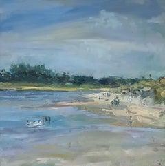 Stephen Kinder, Low Tide Coming, Original Landscape Painting, Affordable Art
