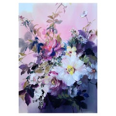 Jo Haran, Pink Haze, Original Floral Painting, Contemporary Art, Affordable Art