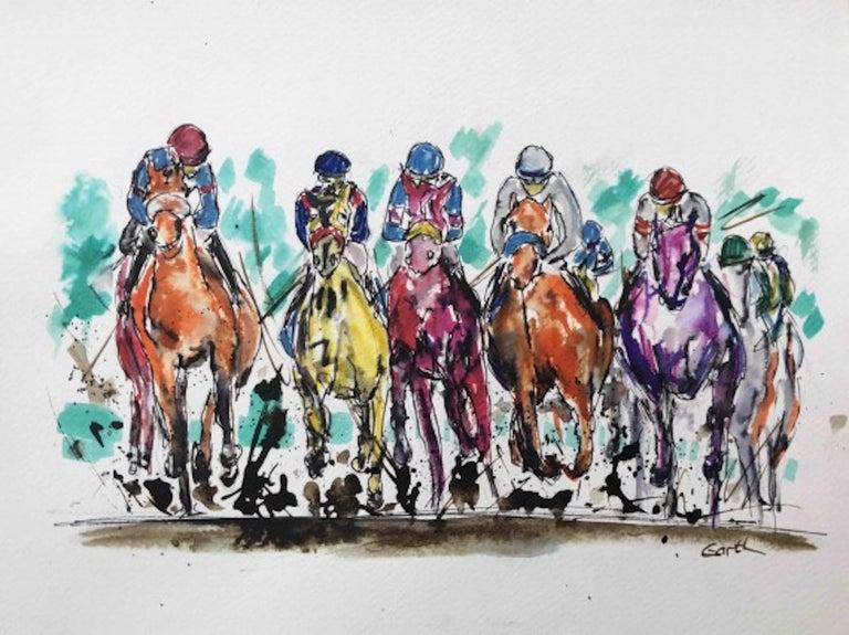 Garth Bayley, Thunder, Contemporary Art, Horse Racing Art, Affordable Art - Gray Figurative Art by Garth Bayley