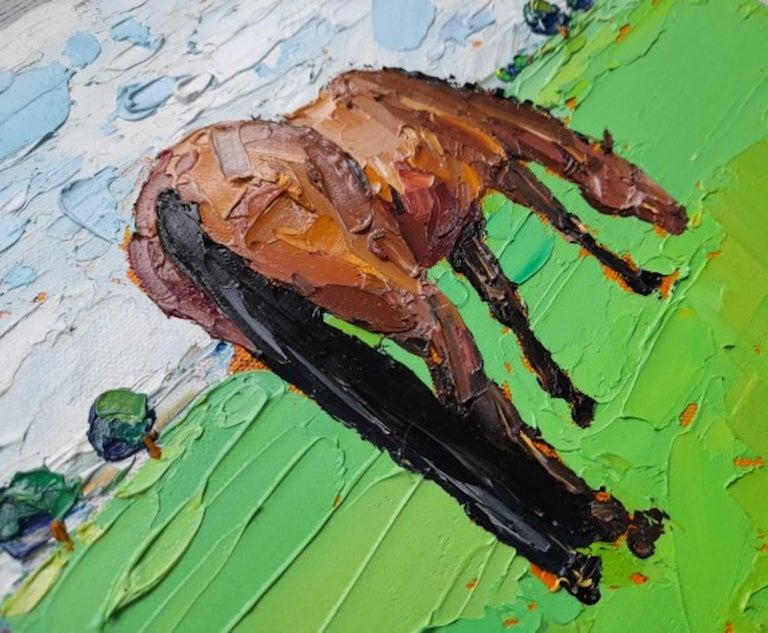 Georgie Dowling, Grazing Horses, Horse Painting, Original Art For Sale 1