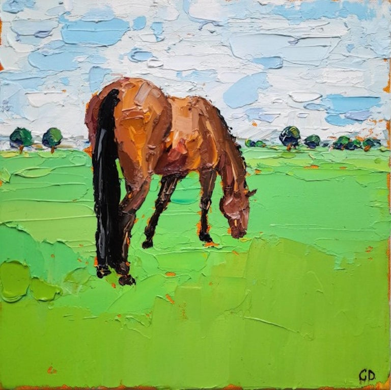 Georgie Dowling, Grazing Horses, Horse Painting, Original Art - Green Landscape Painting by Georgie Dowling