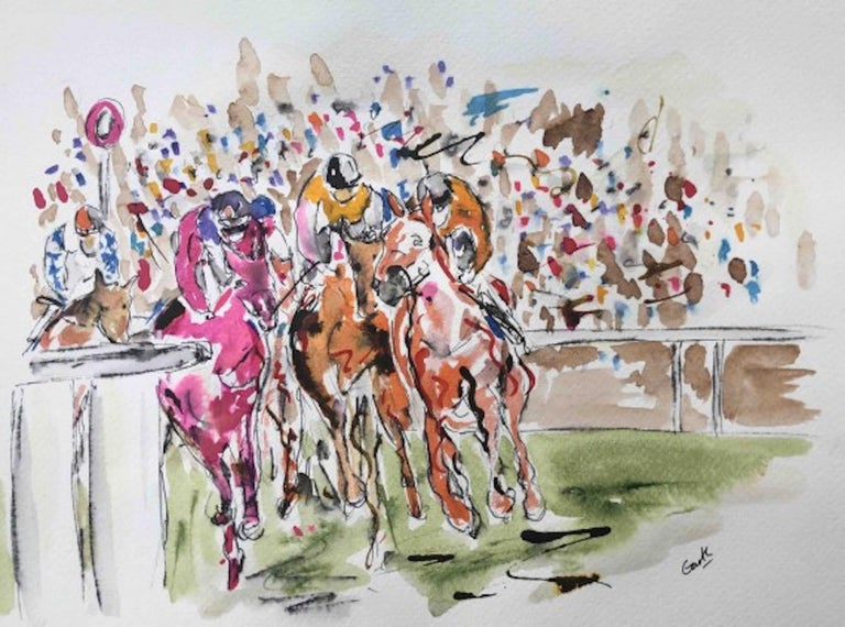 Garth Bayley, Round the Bend, Horse Racing Art, Affordable Art, Contemporary Art - Gray Landscape Art by Garth Bayley