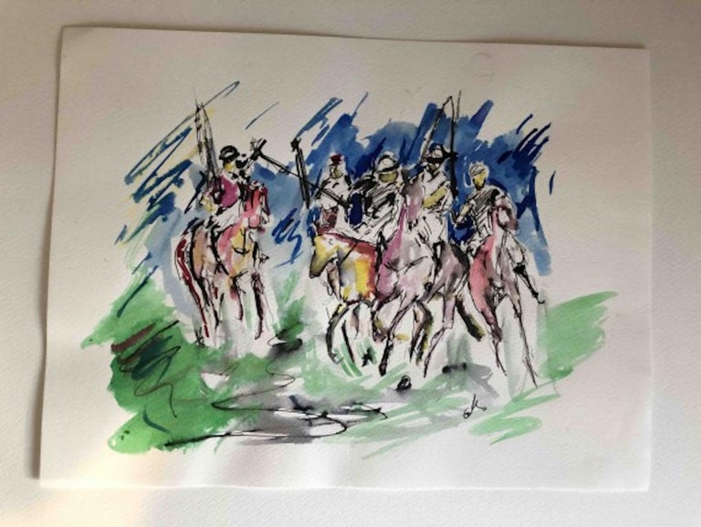 Garth Bayley Polo Players  Original Figurative Pen and ink on watercolour paper Image size: H:24 cm x W:32 cm Sold Unframed  Please note that insitu images are purely an indication of how a piece may look  Polo Players is an original painting by