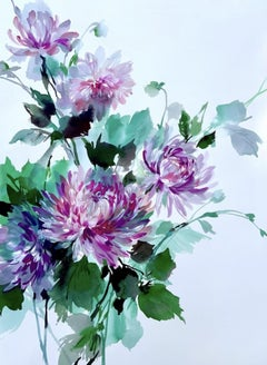 Jo Haran, Drenched Chrysanthemums, Floral Art, Affordable Art, Still Life Art