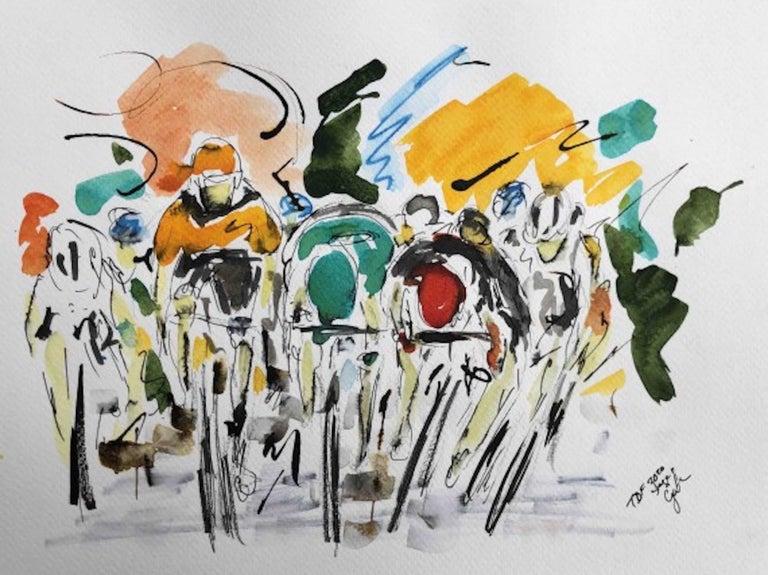 Garth Bayley, Tour de France Stage Eleven 2020, Bicycle Racing Art, Art Online - Gray Landscape Art by Garth Bayley