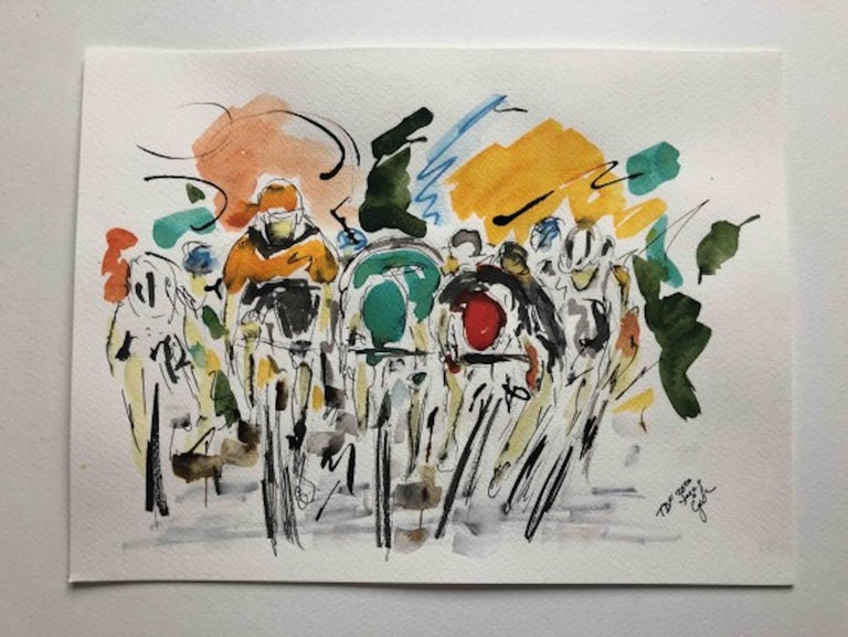 Garth Bayley Tour de France Stage Eleven 2020  Original Figurative Pen and ink on watercolour paper Image size: H:24 cm x W:32 cm Complete Size of Unframed Work: H:24 cm x W:32 cm x D:.1cm  Sold Unframed  Please note that insitu images are purely an