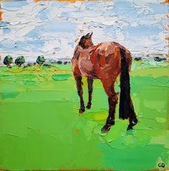 Georgie Dowling, Gazing Horse, Horse Painting, Original Painting, Affordable Art