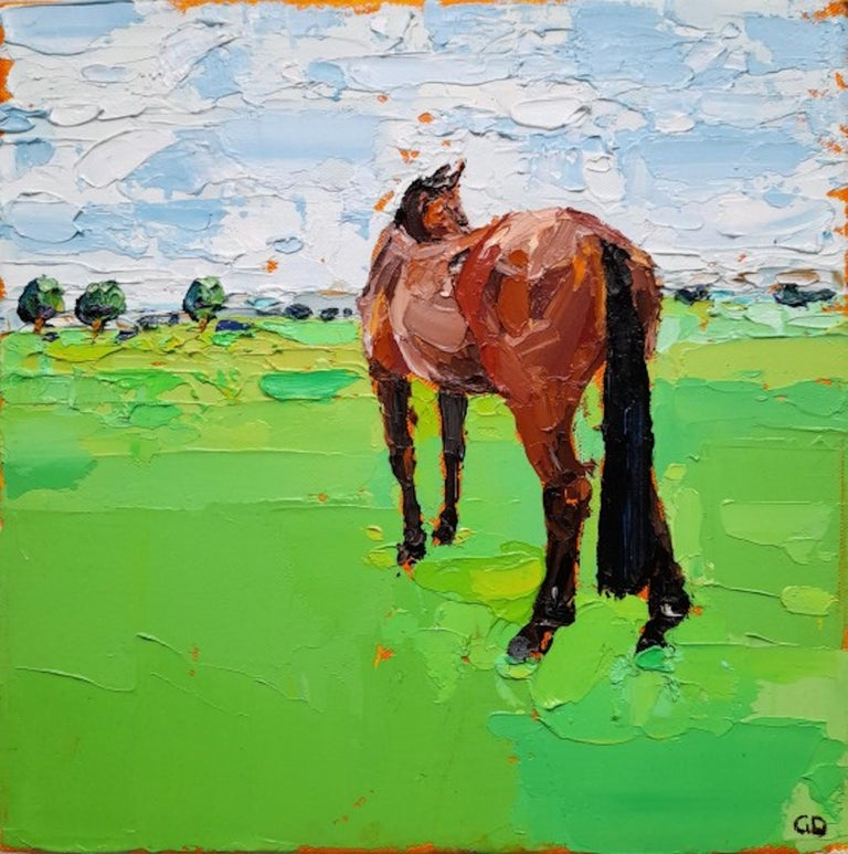 Georgie Dowling, Gazing Horse, Horse Painting, Original Painting, Affordable Art - Green Landscape Painting by Georgie Dowling