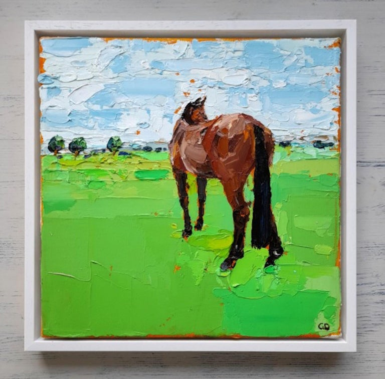 Gazing Horse [2020] Original Landscapes and seascapes Oil paint on canvas Image size: H:30 cm x W:30 cm Complete Size of Unframed Work: H:30 cm x W:30 cm x D:2cm Sold Unframed Please note that insitu images are purely an indication of how a piece