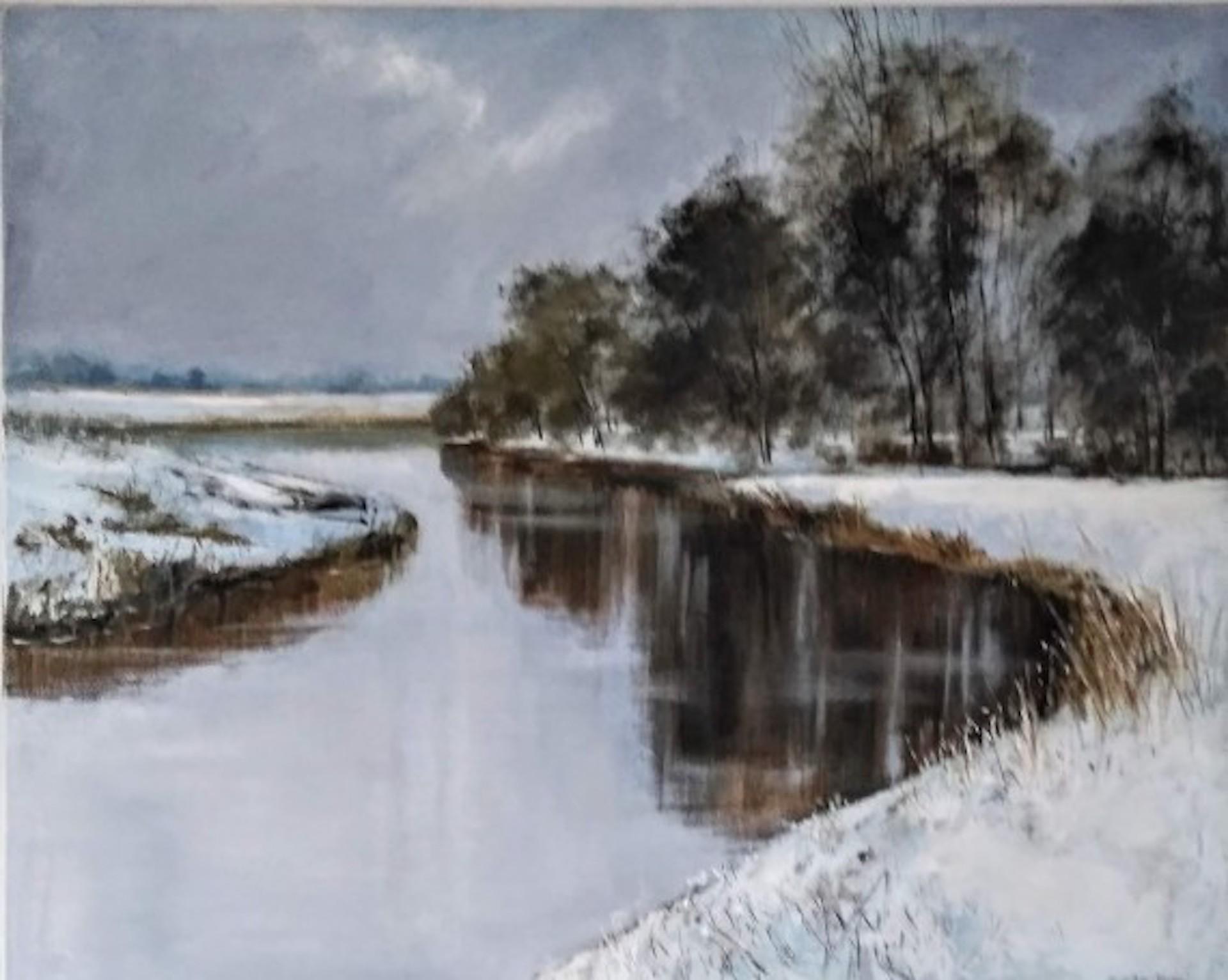 Caroline McMillan Davey, Silent Winter River, Landscape Art, Original Painting