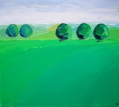 Georgie Dowling, Green Trees, Cotswolds, English Landscape Art, Affordable Art
