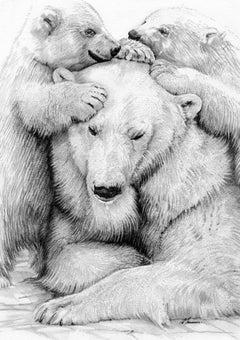 David Truman, Polar Bear Family, Animal Art, Original Drawing