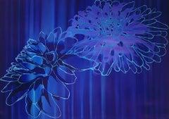 Helen Brough, Dahlia Blue, Contemporary Art, Floral Art, Colourful Print