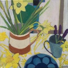 Deborah Windsor, Daffodils and Grape Hyacinth, Original Still Life Painting