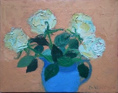 Deborah Windsor, Roses In A Blue Lustre Jug, Floral Still Life Painting