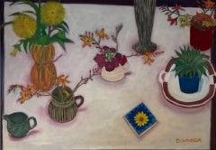 Deborah Windsor, Still Life on a White Tablecloth, Original Still Life Painting