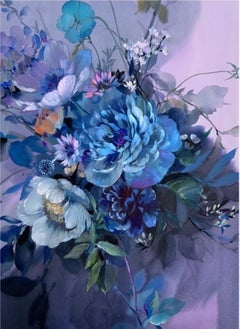 Jo Haran, Captured Blue, Floral Mixed Media Art, Affordable Art