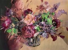 Jo Haran, Floral Burst In Glass Vase, Floral Art, Original Still Life Painting