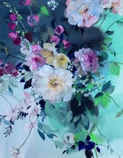 Jo Haran, Longing for Light, Floral Art, Original Mixed Media Painting